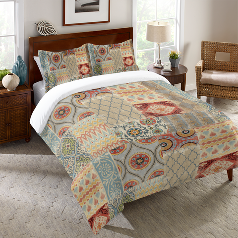 Persian Patchwork Red Duvet Cover