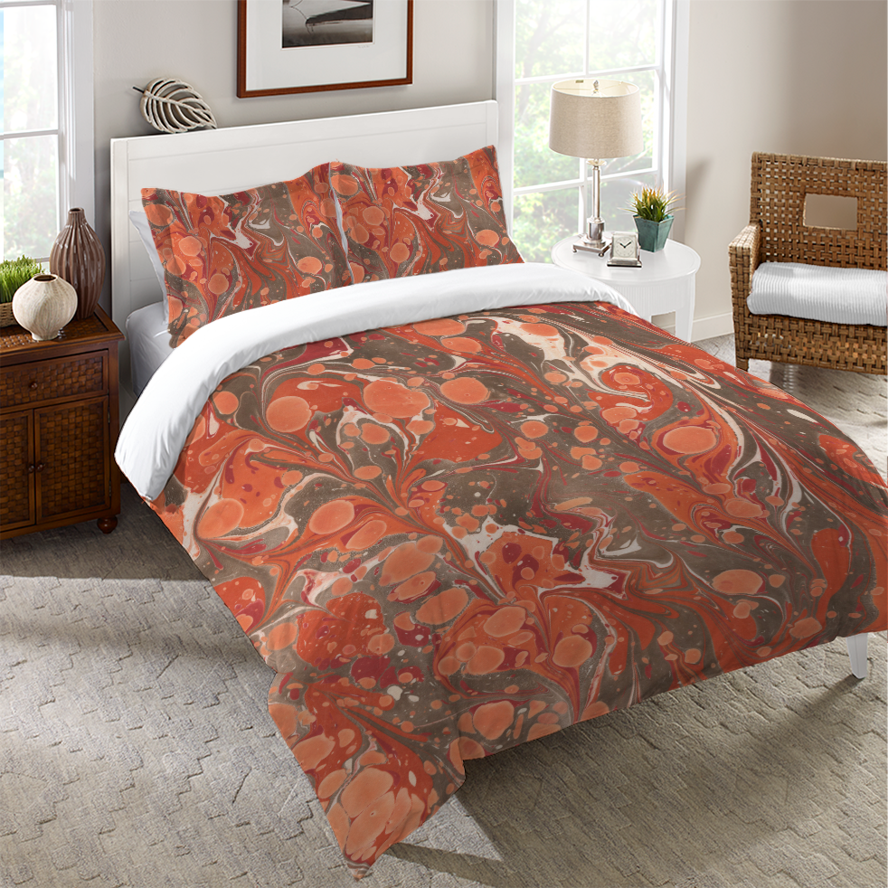 Persimmon Marble Duvet Cover