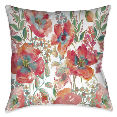 Bohemian Poppies Outdoor Decorative Pillow