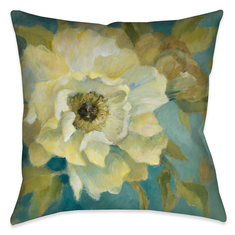 Gold Peony on Teal I Outdoor Decorative Pillow