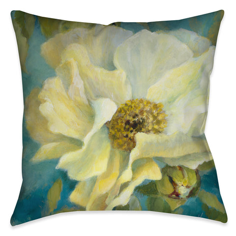 Gold Peony on Teal II Outdoor Decorative Pillow