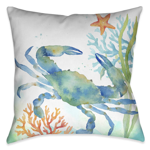 Sea Life Blue Crab Indoor Decorative Pillow