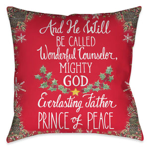 "Celebrate the season with Laural Home's ""Prince of Peace"" decorative pillow! This red holiday design features a Christmas saying surrounded by snowflakes and pinecones. Begin the holiday festivities early this year!"