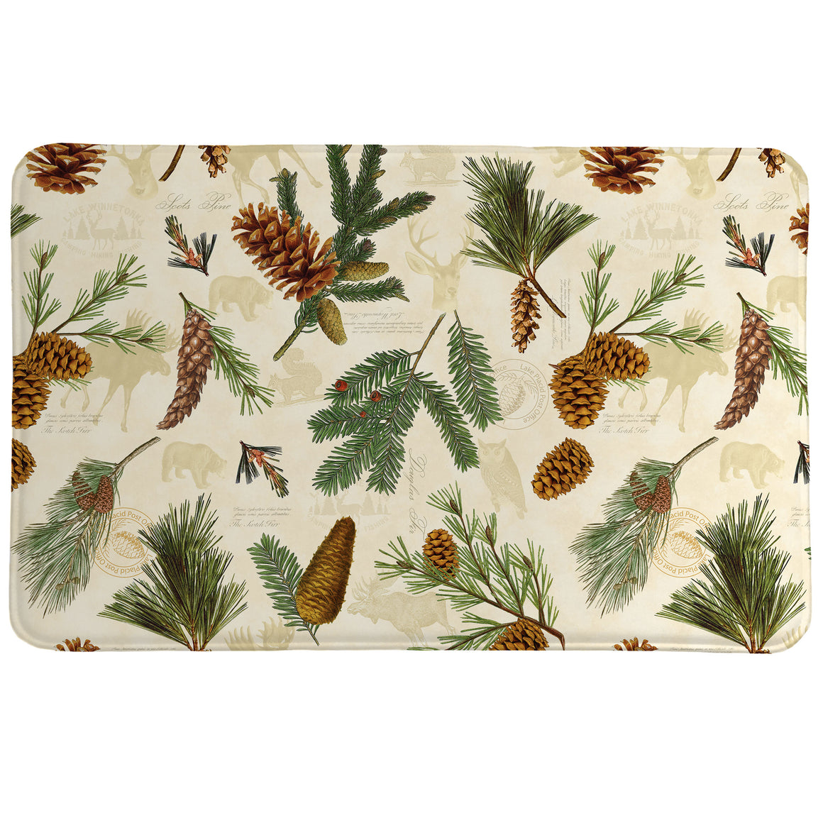 Pinecone Memory Foam Rug features a pattern of pinecones and leaves.