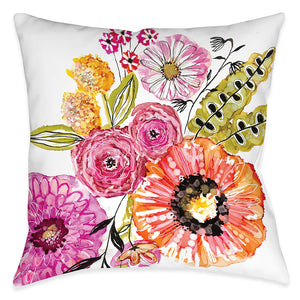 Springtime Florals Outdoor Decorative Pillow