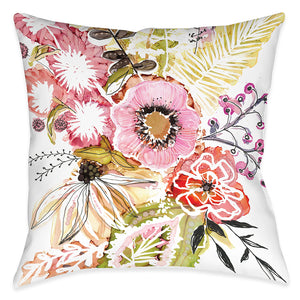 Pink Floral Bouquet Outdoor Decorative Pillow