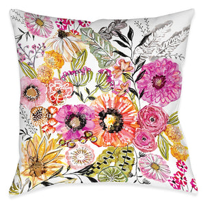 Pink Floral Garden Outdoor Decorative Pillow
