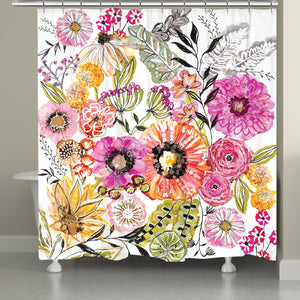 Pink Floral Garden Shower Curtain