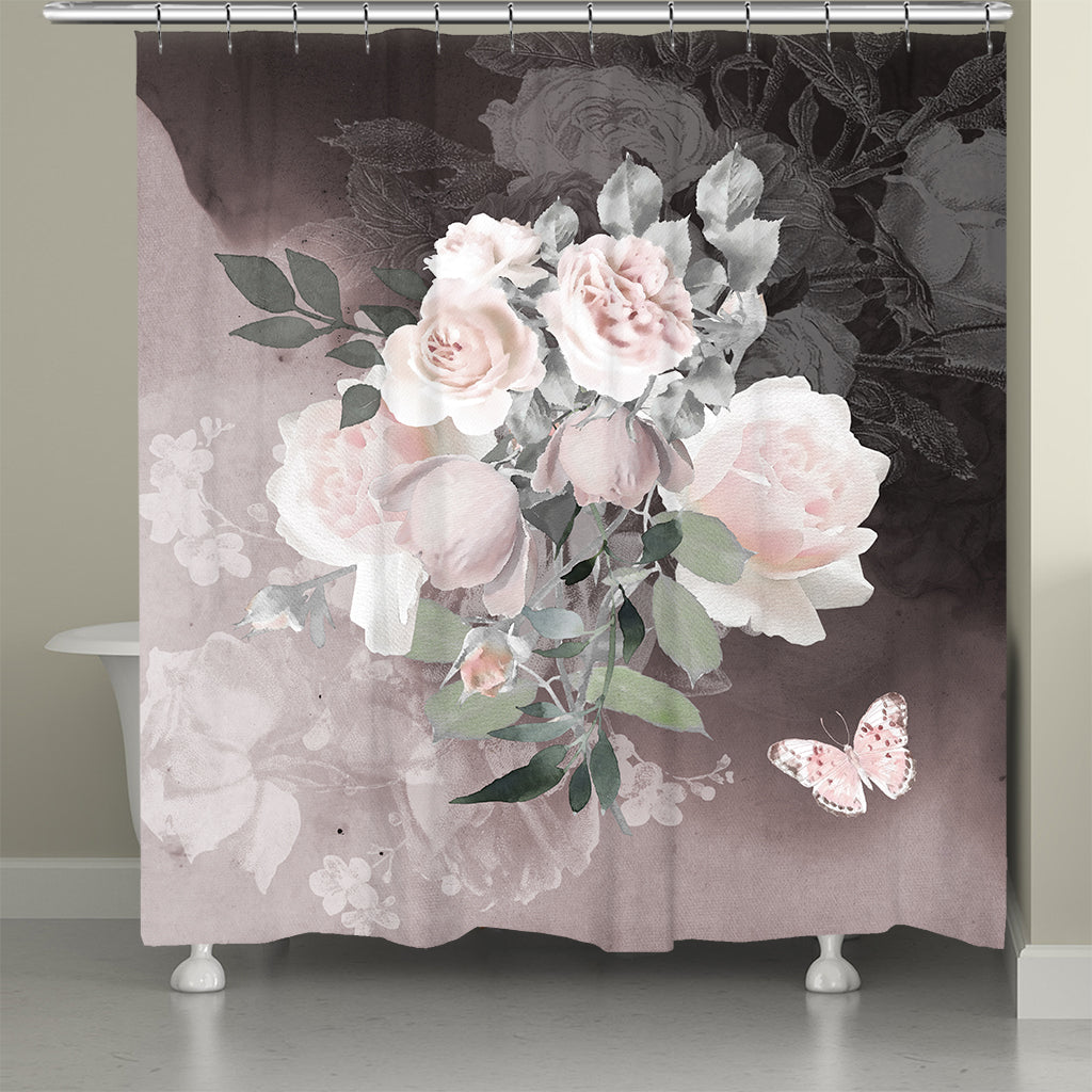 Pink Smoky Roses Shower Curtain