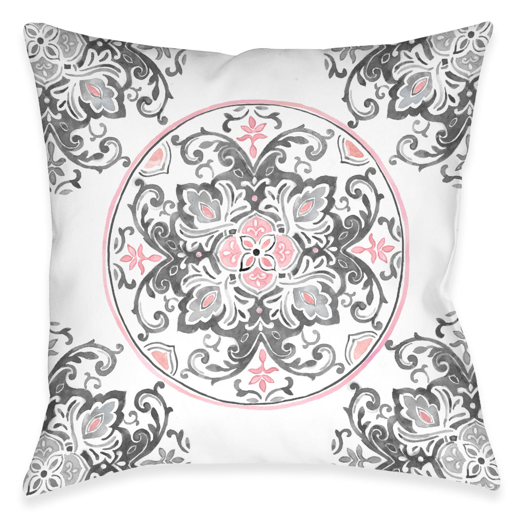 Pink Floral Medallion Outdoor Decorative Pillow