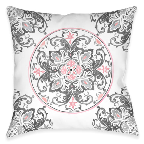 Pink Floral Medallion Indoor Decorative Pillow