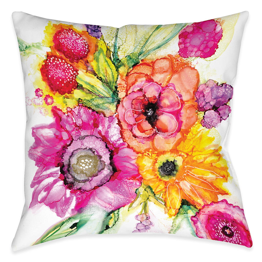 Summer Florals Outdoor Decorative Pillow