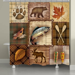 Plaid Lodge Patch Shower Curtain