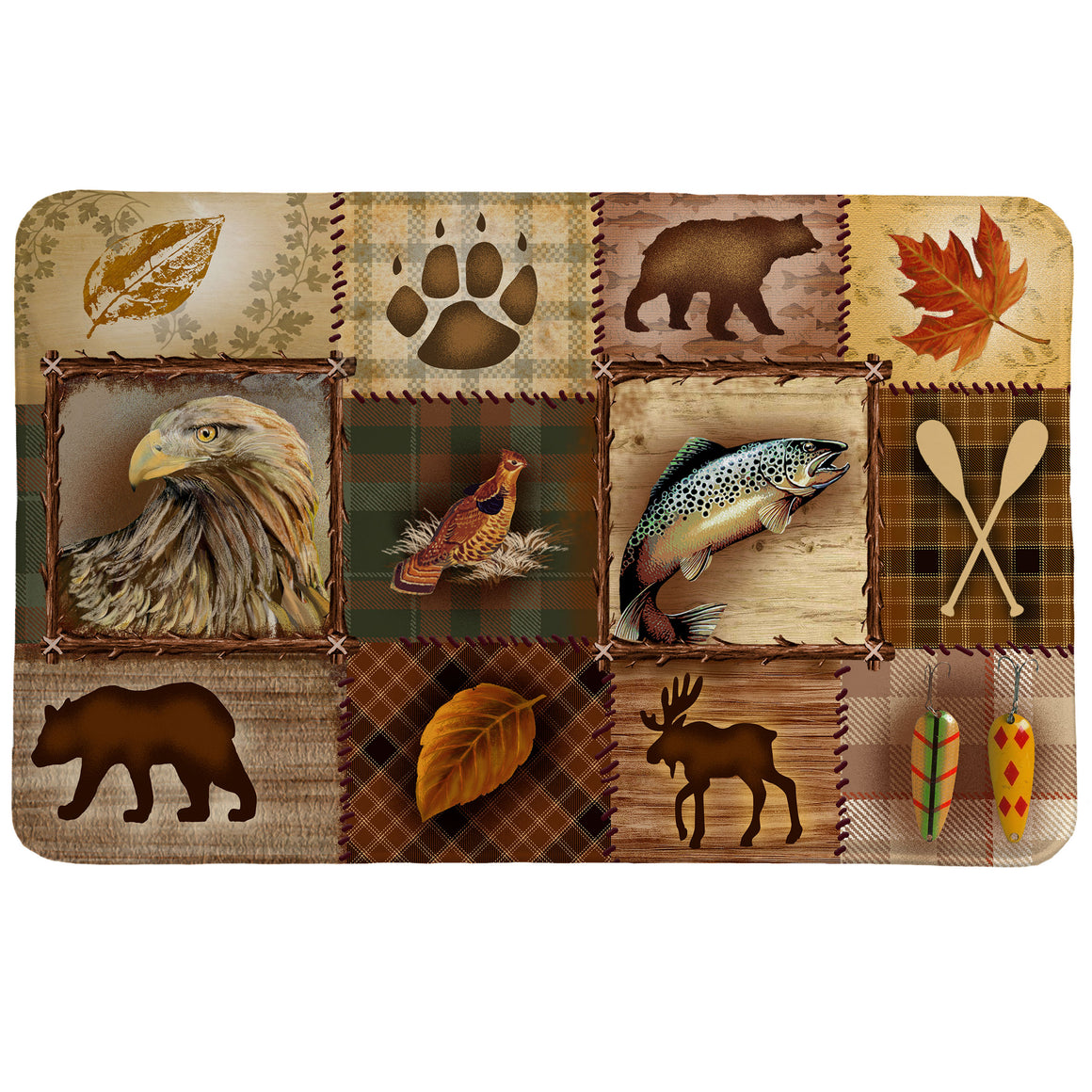 Plaid Lodge Memory Foam Rug is a fun patchwork of rustic outdoor images including animal and plant life.