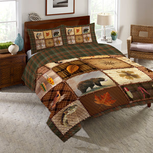 Plaid Lodge Patch Reversible Quilt Set