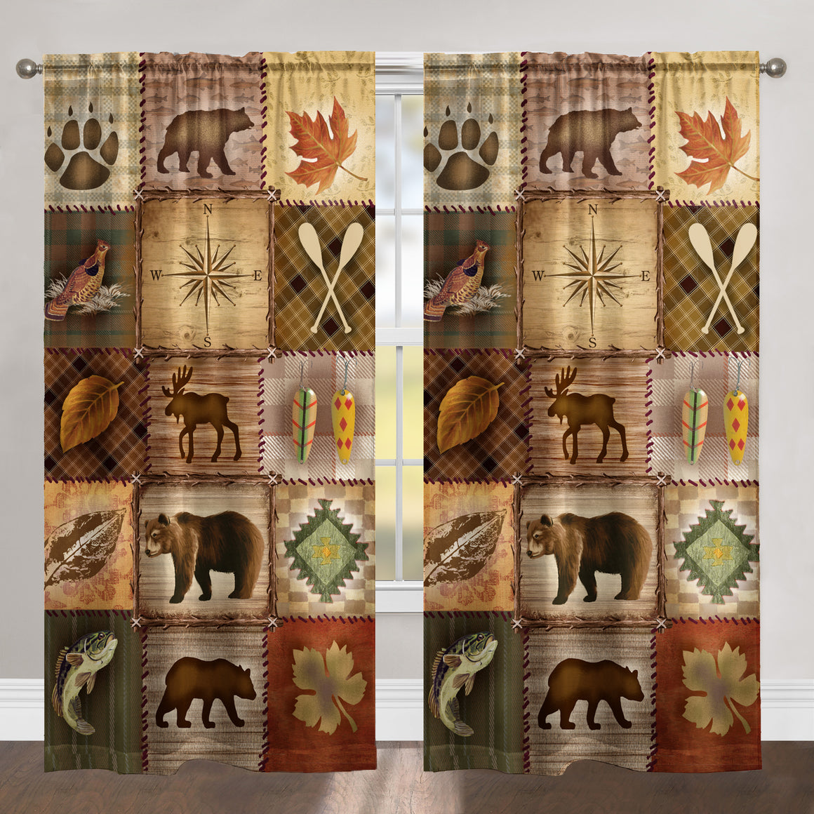 Plaid Lodge Patch Room Darkening Window Panel