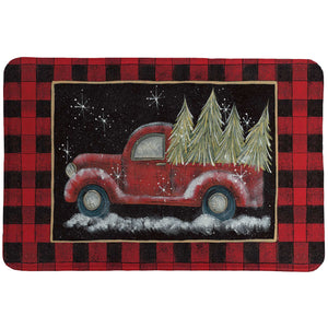 Plaid Holiday Pickup Memory Foam Rug