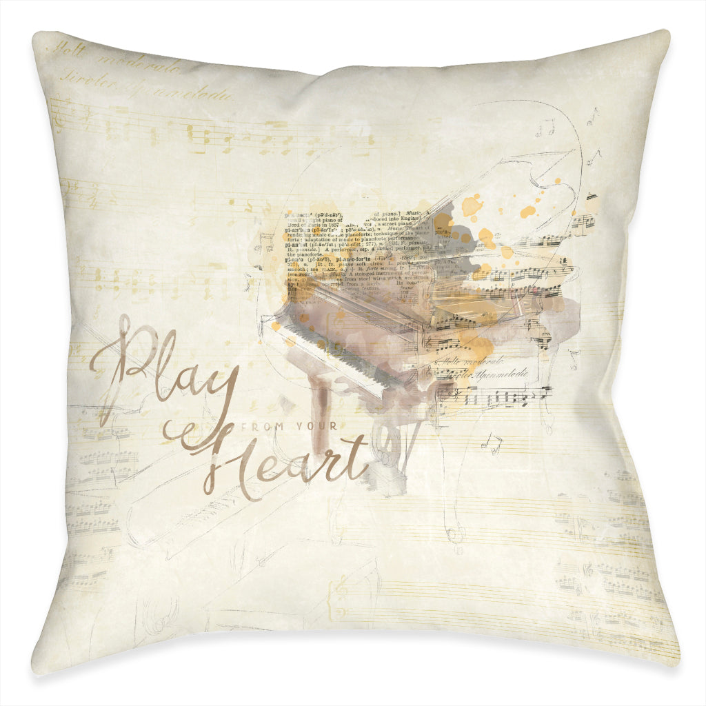 Play From Your Heart Outdoor Decorative Pillow