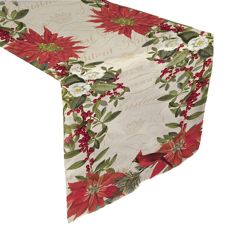 Festive Poinsettia Table Runner