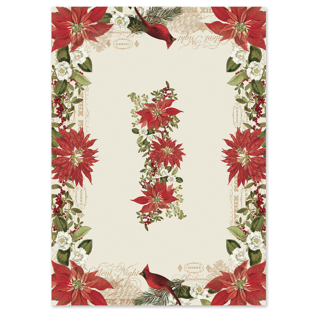 Attrayant Festive Poinsettia Tablecloth Features A Fresh Floral Design As A Pair Of  Cardinals Peacefully Perch In