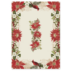 Festive Poinsettia tablecloth features a fresh floral design as a pair of cardinals peacefully perch in a classic holiday flower garden dominated by deep red and green hues.