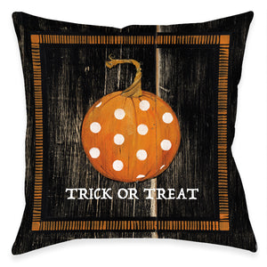 Polka Dot Pumpkin Dark Indoor Decorative Pillow