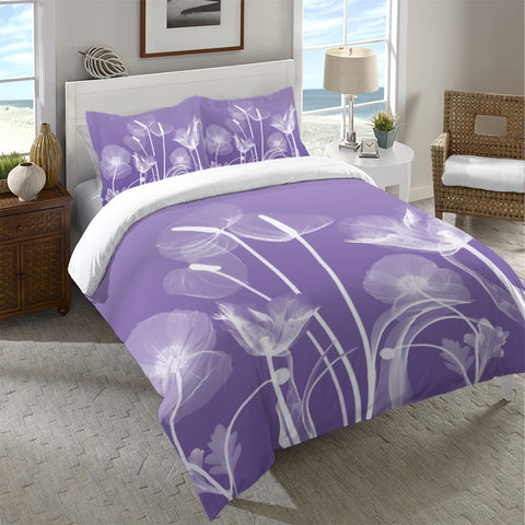 Purple Flora Duvet Cover