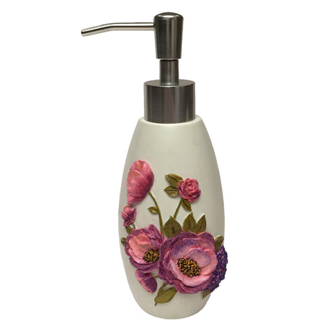 Purple Floral Garden Soap Dispenser