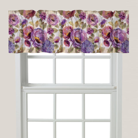 Purple Floral Garden Window Valance