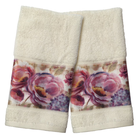 Purple Floral Garden Hand Towel Set