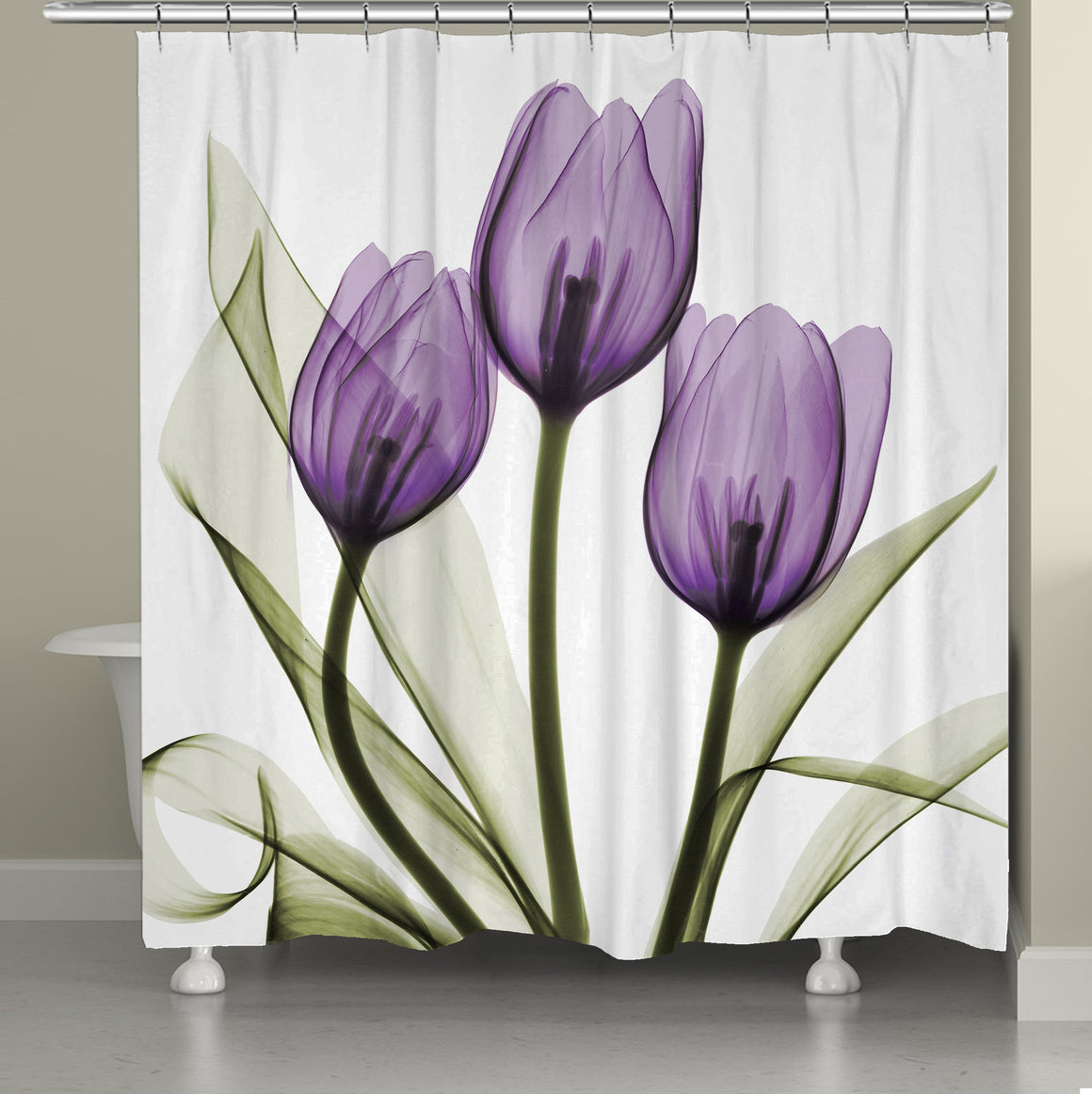 Purple X-ray Tulips Shower Curtain