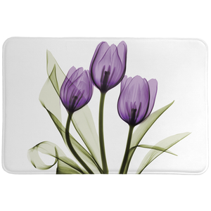 Purple X-ray Tulips Memory Foam Rug features a beautiful purple floral image made with a special technique using an x-ray machine and a cluster of flowers.