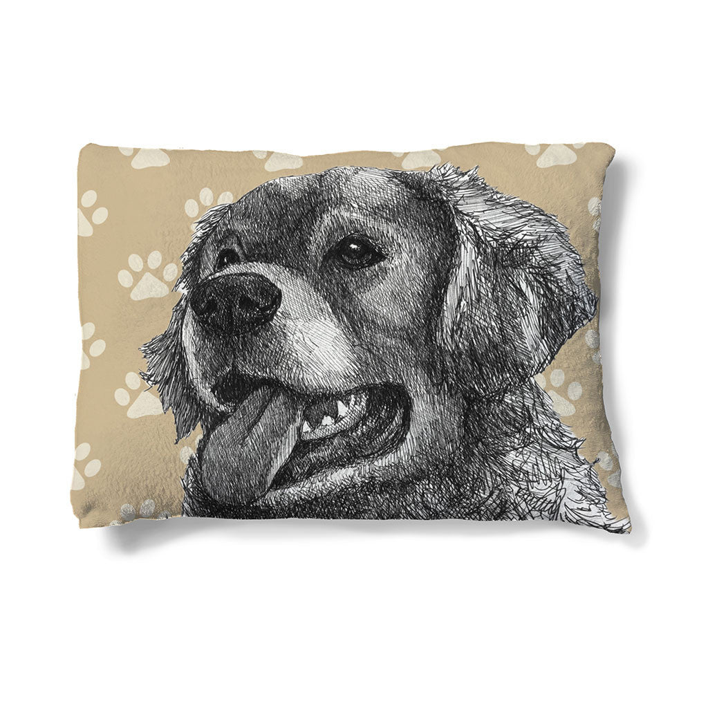 "Golden Retriever Sketch 30"" x 40"" Fleece Dog Bed features a golden retriever resting peacefully before a paw-print backdrop."