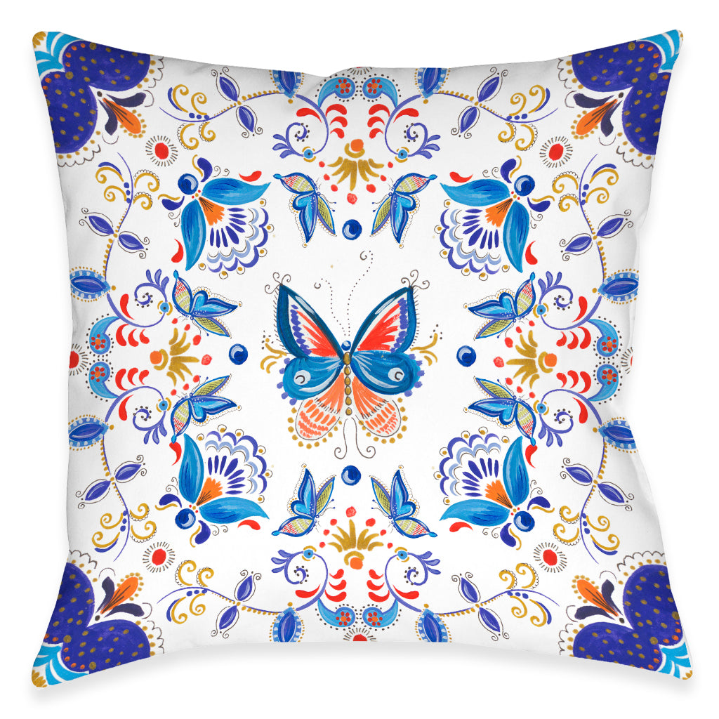 Rainbow Butterfly Outdoor Decorative Pillow