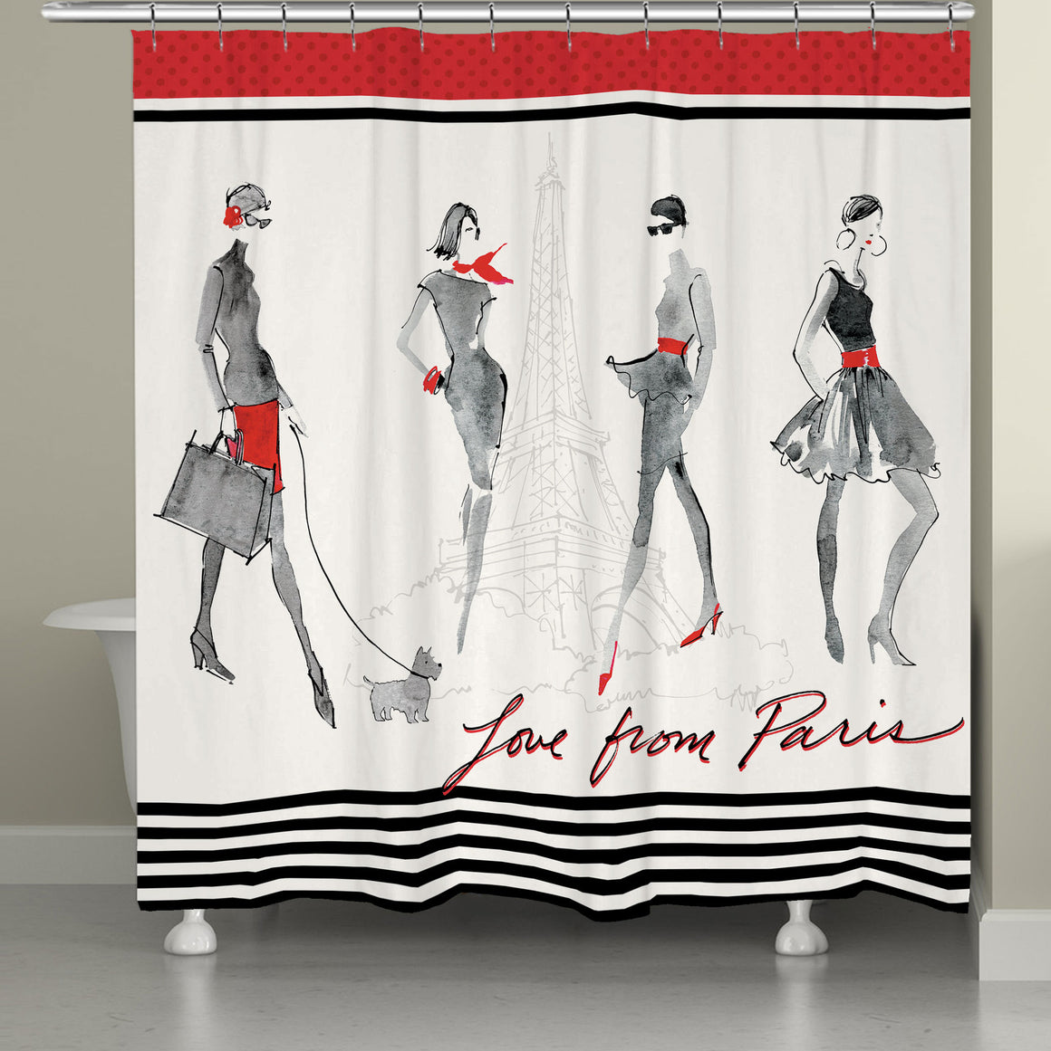 Red Flair Shower Curtain
