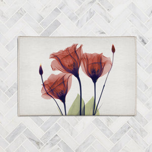 Red Gentian X-Ray Flowers Accent Rug