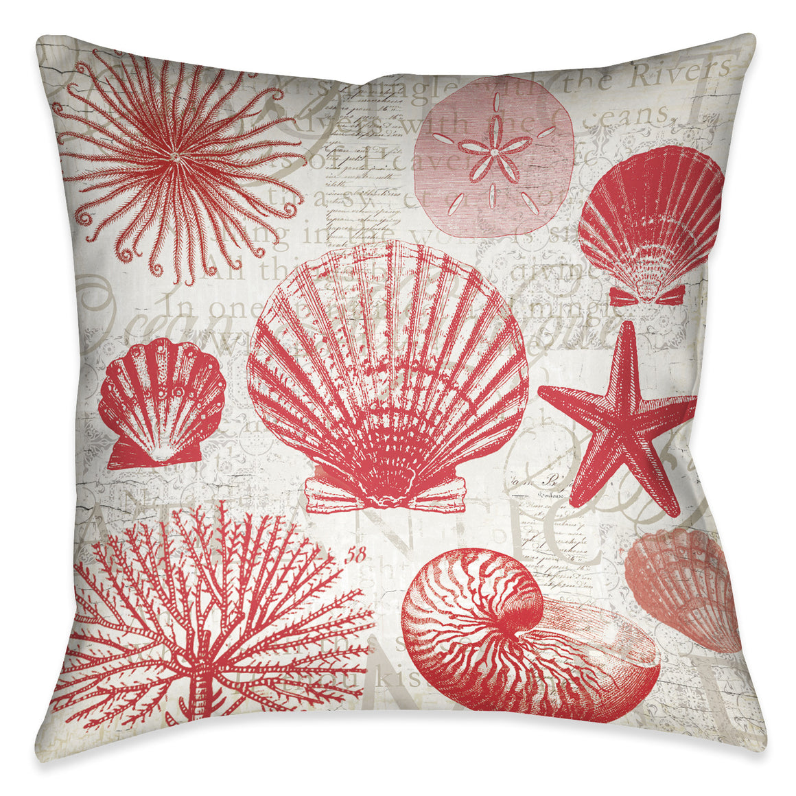 Red Shells I Indoor Decorative Pillow
