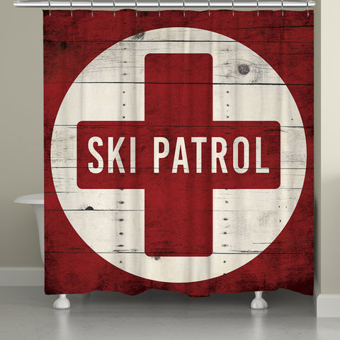 Red Ski Patrol Shower Curtain