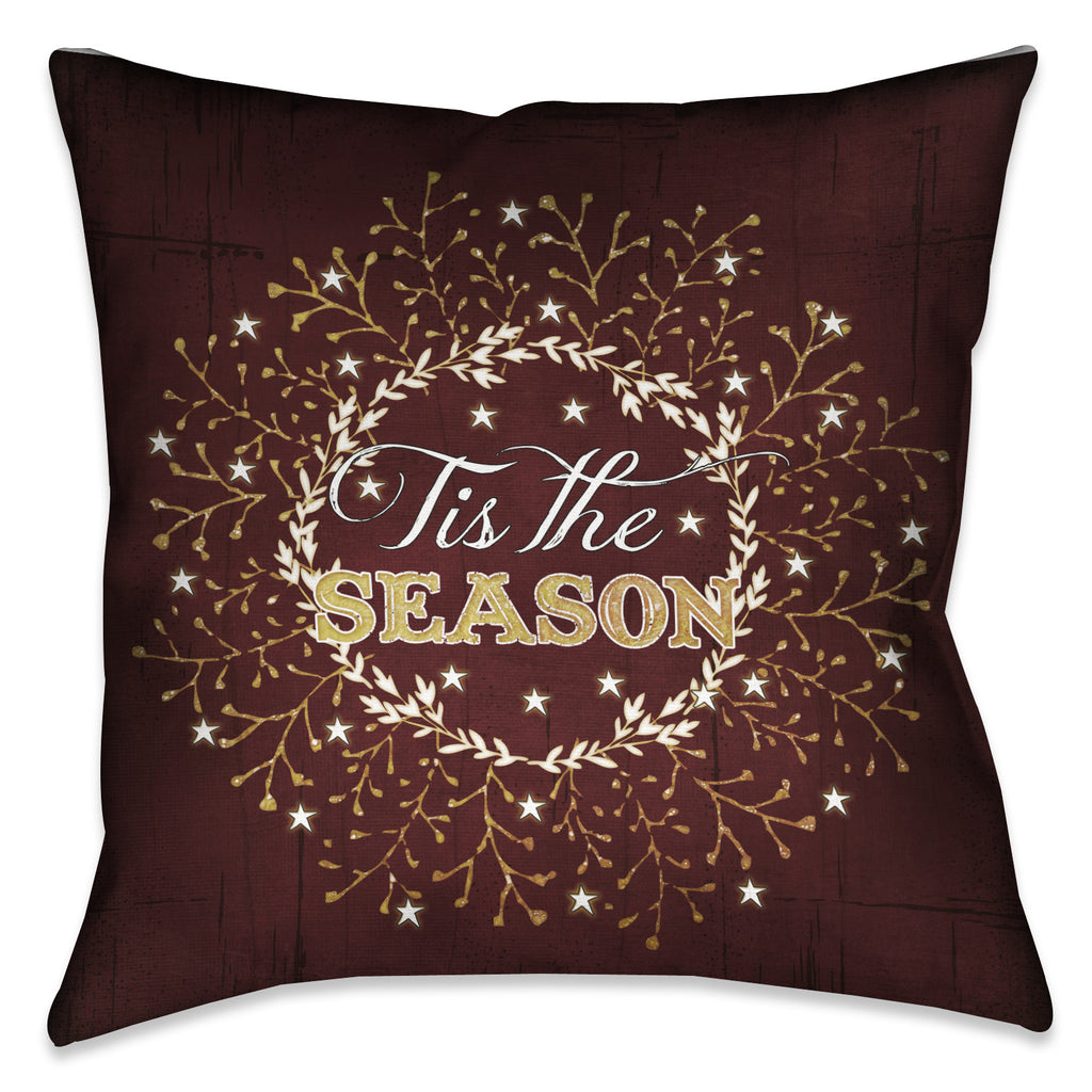 Tis The Season Maroon Pillow