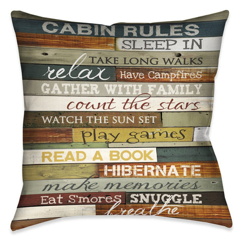 Cabin Rules Outdoor Decorative Pillow