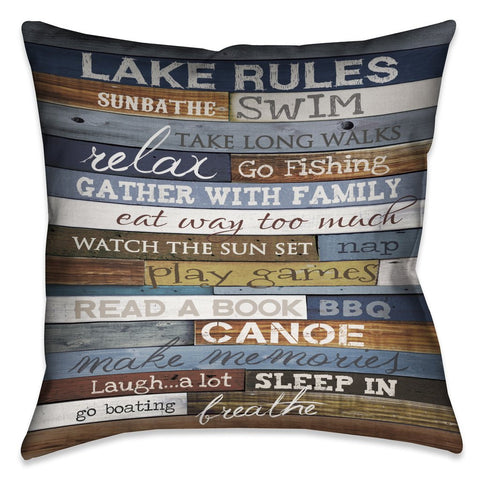 Lake Rules Outdoor Decorative Pillow