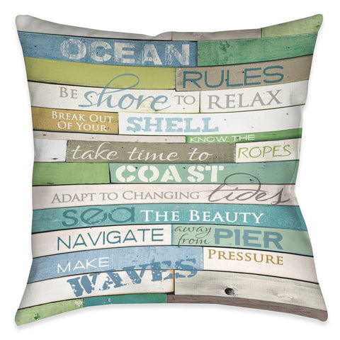 Ocean Rules Outdoor Decorative Pillow