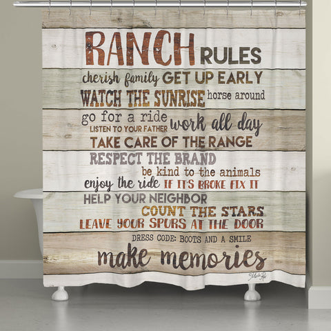 Rustic Ranch Rules Shower Curtain