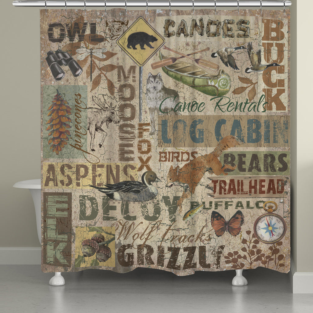 Rustic Words Shower Curtain  Laural Home - Shower curtain with words