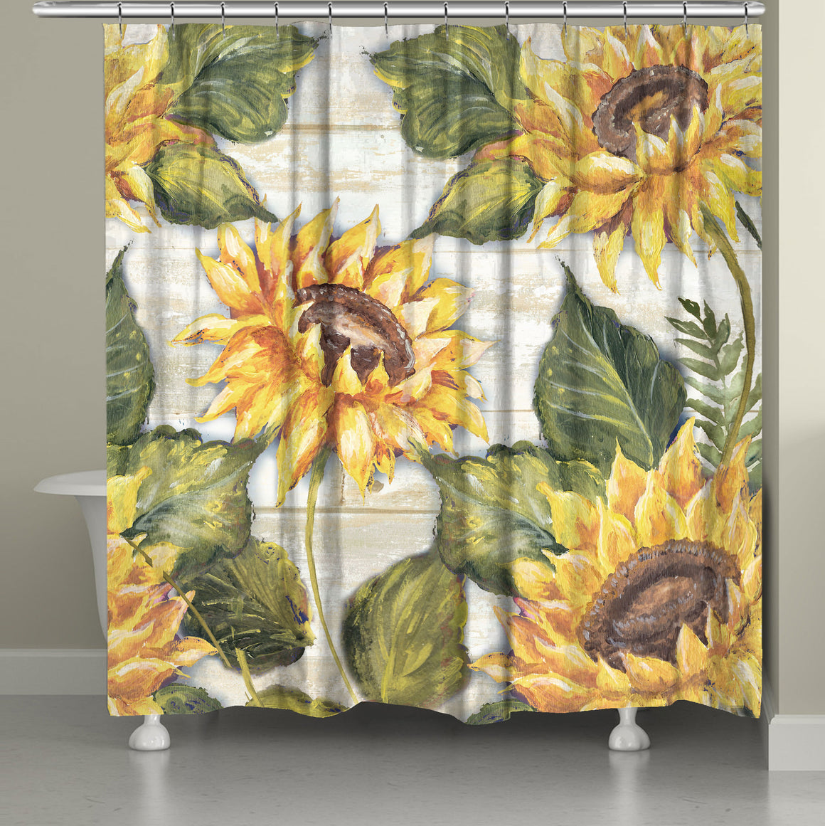 "The ""Sunflowers On Shiplap Shower Curtain"" displays printed oversized sunflowers from original hand painted artwork. The soft, oversized florals displayed on a soft cream shiplap wood texture reveals a sophisticated artful taste that is sure to bring life to any bathroom space!"