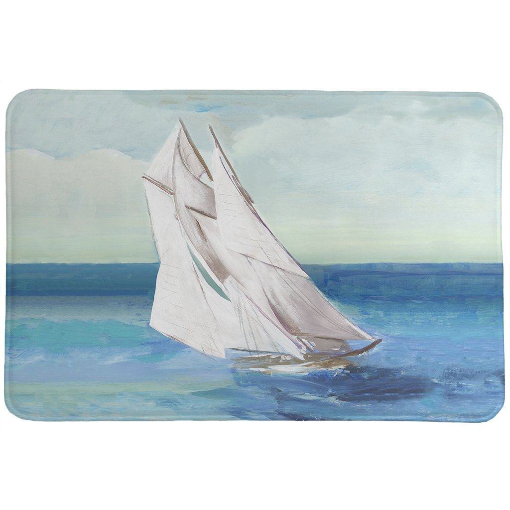 Sail The Ocean Blue Memory Foam Rug
