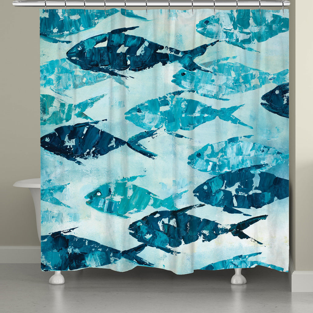 School Of Fish Shower Curtain Laural Home