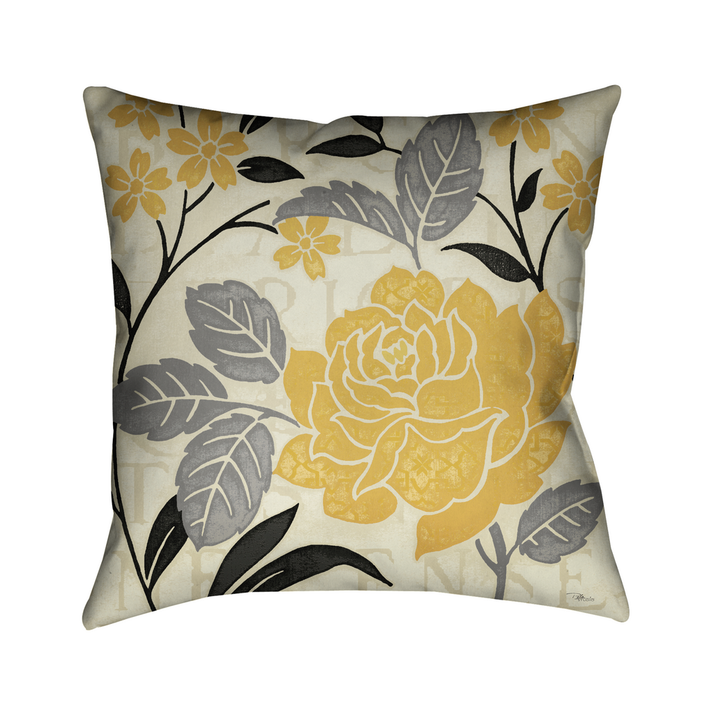 Perfect Petals I Yellow Indoor Decorative Pillow