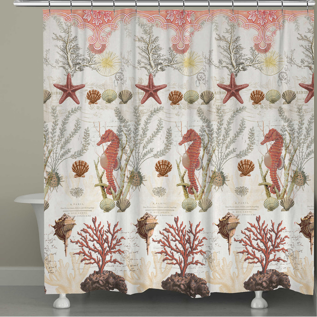 Ornate Coral Shower Curtain
