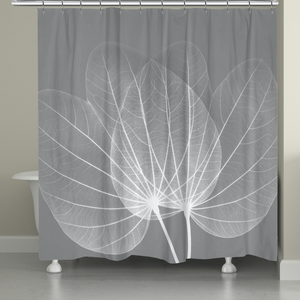 Grey Leaves Shower Curtain